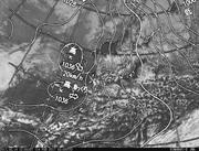 「ひまわり8号」可視画像&天気図合成 2017年2月14日12時JST