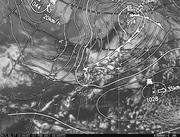 「ひまわり8号」可視画像&天気図合成 2017年2月17日12時JST