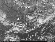 「ひまわり8号」可視画像&天気図合成 2017年2月18日12時JST