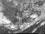 「ひまわり8号」可視画像&天気図合成 2017年3月7日12時JST