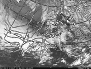「ひまわり8号」可視画像&天気図合成 2017年3月13日12時JST
