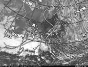 「ひまわり8号」可視画像&天気図合成 2017年3月16日12時JST