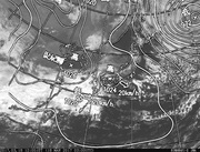「ひまわり8号」可視画像&天気図合成 2017年3月18日12時JST