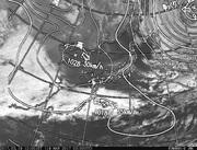 「ひまわり8号」可視画像&天気図合成 2017年3月19日12時JST