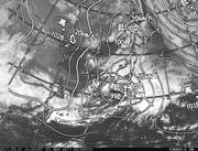 「ひまわり8号」可視画像&天気図合成 2017年3月21日12時JST