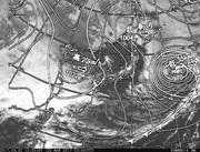 「ひまわり8号」可視画像&天気図合成 2017年3月22日12時JST