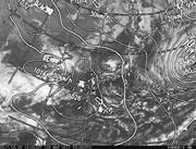 「ひまわり8号」可視画像&天気図合成 2017年3月28日12時JST