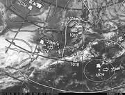 「ひまわり8号」可視画像&天気図合成 2017年3月29日12時JST