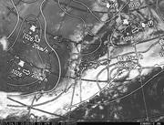 「ひまわり8号」可視画像&天気図合成 2017年4月1日12時JST