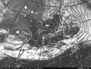 「ひまわり8号」可視画像&天気図合成 2017年4月12日12時JST