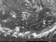 「ひまわり8号」可視画像&天気図合成 2017年4月14日12時JST