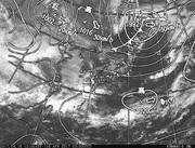 「ひまわり8号」可視画像&天気図合成 2017年4月16日12時JST