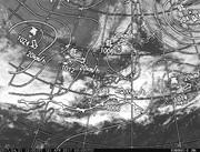 「ひまわり8号」可視画像&天気図合成 2017年4月21日12時JST