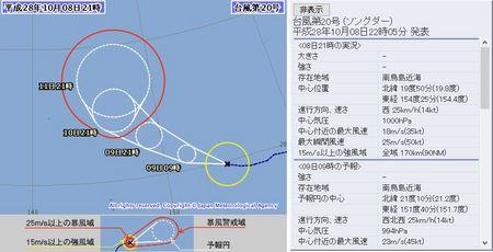 平成28年台風第20号72時間予報 10月8日21時