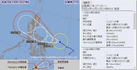 平成28年台風第21号72時間予報 10月13日21時