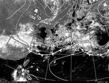 ひまわり7号可視画像・天気図合成 2014年7月4日12時JST