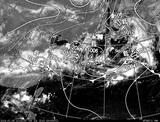 ひまわり7号可視画像・天気図合成 2014年7月5日12時JST