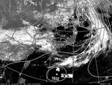 ひまわり7号可視画像・天気図合成 2014年7月12日12時JST