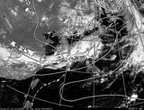 ひまわり7号可視画像・天気図合成 2014年7月13日12時JST