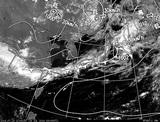 ひまわり7号可視画像・天気図合成 2014年7月14日12時JST