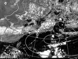 ひまわり7号可視画像・天気図合成 2014年7月16日12時JST