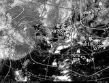 ひまわり7号可視画像・天気図合成 2014年7月19日12時JST
