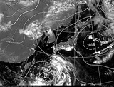 2ひまわり7号可視画像・天気図合成 2014年7月30日12時JST