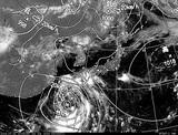 ひまわり7号可視画像・天気図合成 2014年7月31日12時JST