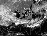 ひまわり7号可視画像・天気図合成 2014年9月14日12時JST