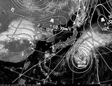 ひまわり7号可視画像・天気図合成 2014年9月28日12時JST
