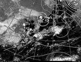 ひまわり7号可視画像・天気図合成 2014年10月1日12時JST