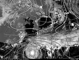 ひまわり7号可視画像・天気図合成 2014年10月10日12時JST