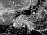 ひまわり7号可視画像・天気図合成 2014年10月12日12時JST