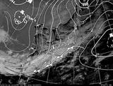 ひまわり7号可視画像・天気図合成 2014年12月4日12時JST