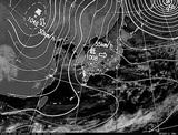 ひまわり7号可視画像・天気図合成 2014年12月31日12時JST