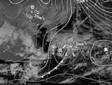ひまわり7号可視画像・天気図合成 2015年1月15日12時JST