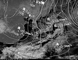 ひまわり7号可視画像・天気図合成 2015年1月19日12時JST