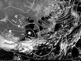 ひまわり7号可視画像・天気図合成 2015年3月12日12時JST
