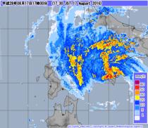 レーダー・ナウキャスト(降水) 2016年8月17日17時30分JST