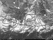 「ひまわり8号」可視画像&天気図合成 2017年4月11日12時JST
