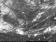「ひまわり8号」可視画像&天気図合成 2017年4月15日12時JST