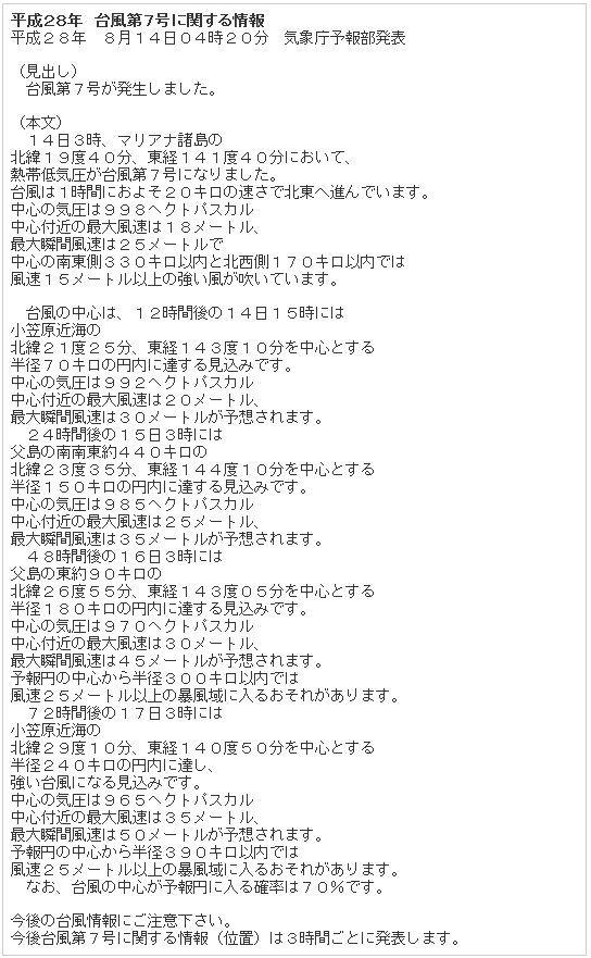 平成28年 台風第7号に関する情報