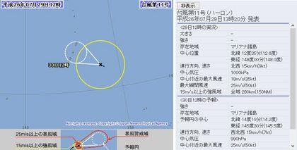 2014年台風第11号 24時間予報 7月29日12時