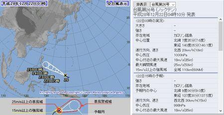 平成28年台風第26号72時間予報 12月22日3時
